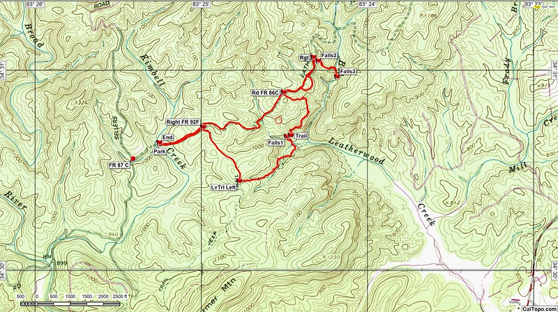"""This is my GPS track.  The group's track would show them dropping down to Big Leatherwood Creek at a point just above where we picked up the """"Trail""""."""