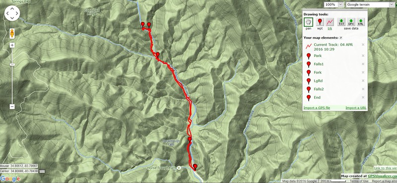 """Here is the track.  Choosing the """"correct"""" side of the river is key to doing the hike. I think the left side (left side looking upstream) until you reach the shoal area just below the second major tributary, is the best choice."""