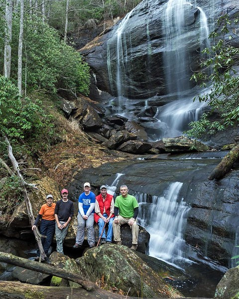 Brenda, Rich, Renee, Bernie and Mark at Hedden Creek Falls January, 2017.  Photo by Stevenson