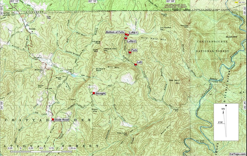 """This topo shows where Hedden Falls is located.  Glade Road is 2.4 miles north of the intersecton of Warwoman Road and Hwy 28 in Georgia.  Follow Glade Road for 3.24 miles to where it crosses Hedden  Creek on a culvert.  Go left on Horse Cove Road.  The waterfall is one mile+ on the left.  With a high clearance, 4-wheel drive vehicle,  it is possible to drive all the way to the waterfall (as of January 14, 2017).  We drove up the road a quarter mile or so and parked where the road made a hairpin bend to the left.  About the only advice I can give you about getting down to the bottom is do not try to descend anywhere near the  waterfall.  Back off at least as far as my waypoint """"LvRd-2""""  before beginning your bushwhack.  One of the gang spotted a """"trail"""" near the top and we foolishly tried to get down.  The cliff that forms the waterfall extends quite a ways south of the creek and stymies one trying to get down too close to the actual waterfall."""
