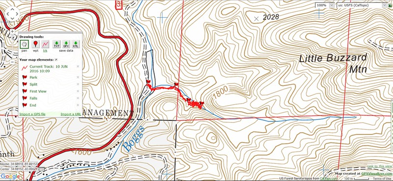 Here is the track.  My Garmin says it is about a mile each way; I think that is an exaggeration.  My guess is that it is less than half a mile, each way.