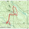 """Here is the GPS track.  Coming out, I bushwhacked straight up the mountain and hit my incoming route at the  blue way point (""""Turn"""").  Which, of course, is a shortcut you can use going in.  And, coming out,  I followed FR 155B all the way to Walnut Fork Road and walked FR 155 back to the car."""
