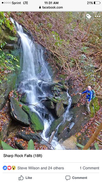 """To get back to where you parked, go on by Filmy Fern and climb up to the road (Pumping Station Road).  Turn right  .  There are three waterfalls right beside the road that, with a little scrambling, you can visit.  Greg calls the first waterfall you come to going this direction  """"Sharp Rock"""".  Photo by Greg Ford."""