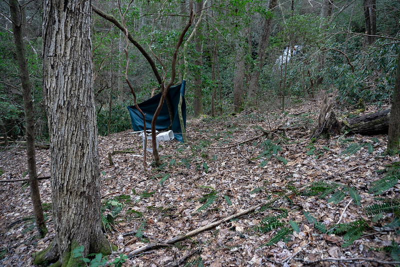 """""""Homestead"""" Falls?    Someone has """"Homesteaded"""" near the base of the waterfall.  There is quite a lot of trash laying around that I didn't want to record."""