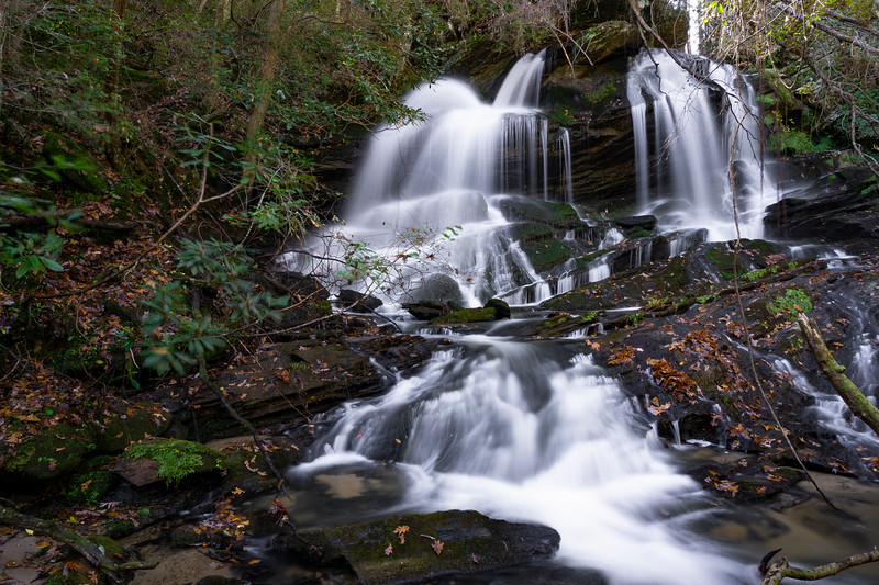 Even farther downstream is Filmy Fern Falls.  I haven't hiked the creek between Grand Shoals and Filmy Fern but Greg Ford says it is not a tough bushwhack.