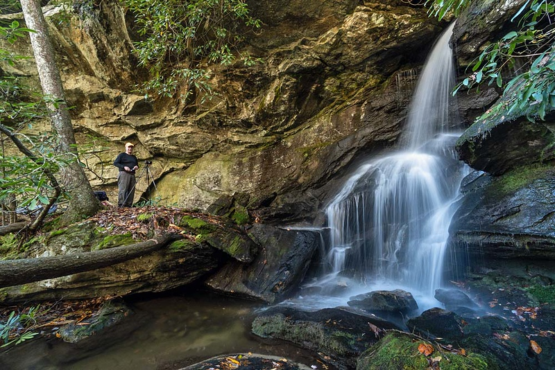 But  real photographers know from where to shoot.  This is Rich's shot of the waterfall with a real person, not an actor, in the picture.