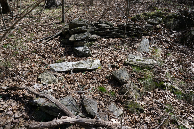 Once over the ridge and around the blow downs, drop down to the creek and cross over to the SW side.  The terrain becomes open woods and the hiking becomes much easier.  I noticed some stacked stone; I guess that I wasn't the first person to go through here.