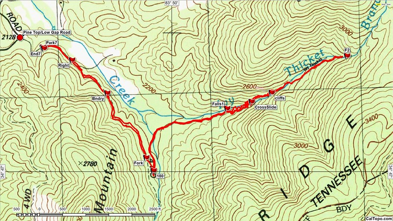 """This topo combines the tracks of my recon to the lower falls and my hike to the upper falls.  Not knowing the condition of FR 850 for the recon, I decided to park at a """"pull-out"""" on Low Gap Road.  For the hike to the upper falls, I drove to the large parking area just beyond the Way Point """"180"""".  I was having issues with my Garmin on the hike  so I haven't calculated the exact mileage (Operator or device; yet to be determined!).  A mile, each way, from the culdesac?"""