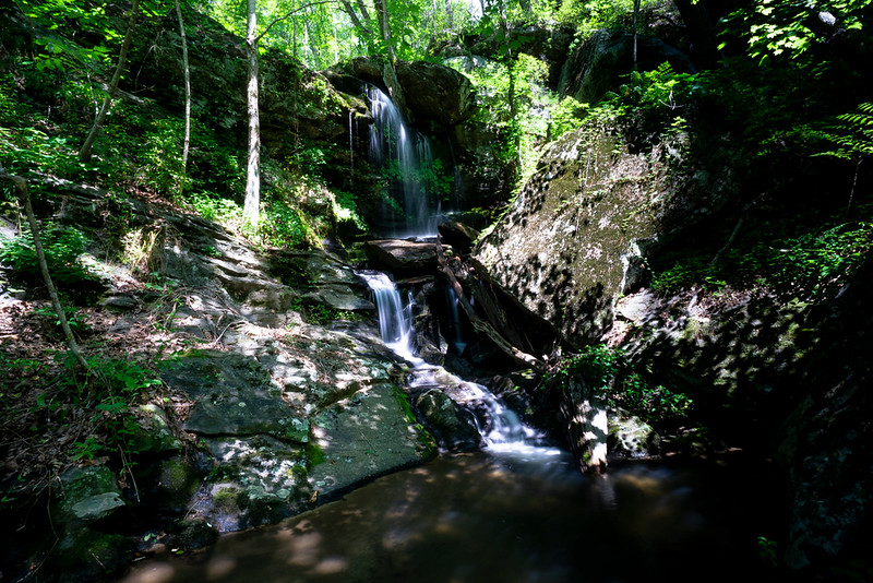 """Located just up stream from the cascade, is this geologically complex, 30 + footer that Greg has named """"Tumbling Rock Falls""""."""