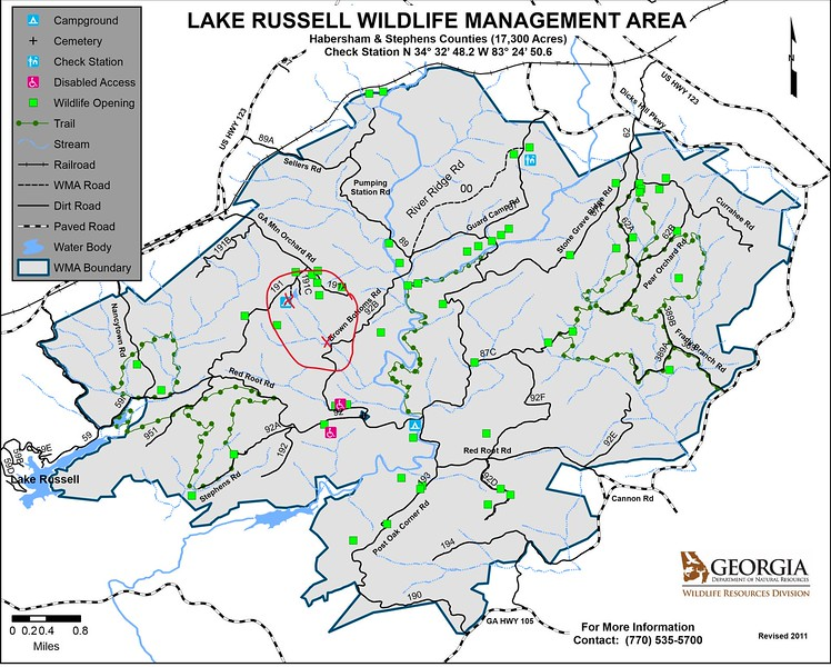 """This is a road map of Lake Russell Wildlife Management Area.  The hikes in this posting are located within the red circle.  Parking spots are represented by the two red """"X""""s."""