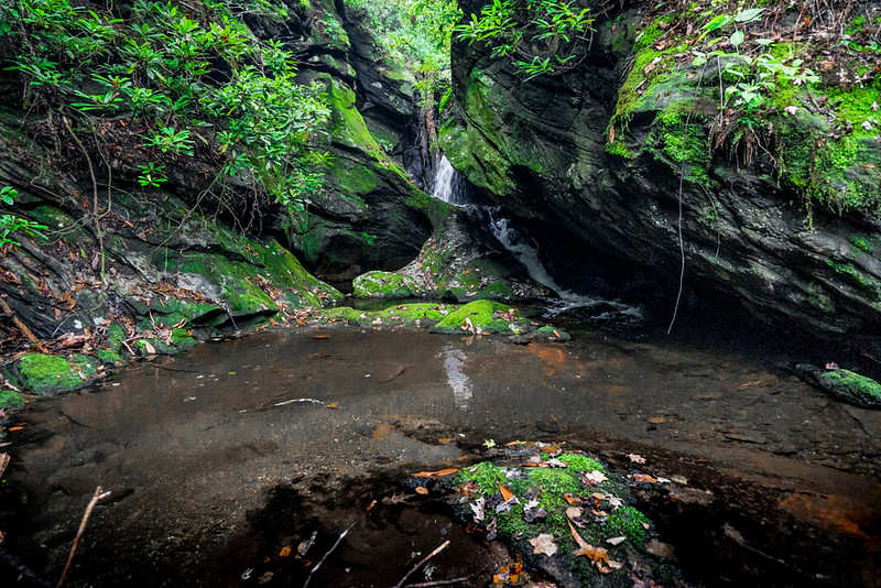 Next, this waterfall is located at 2600 feet on Sarahs Creek in Rabun County.  Coordinates are 34.9472, -83.27567