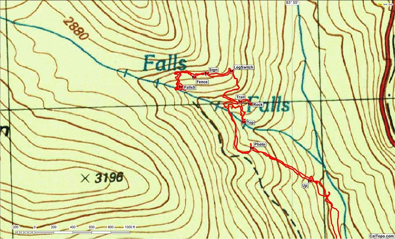 """This track  is the upper portion of the third hike (my latest hike to the tributary).  It verifies the top of the first waterfall to be 2440 feet (Ref """"Top"""") and the top of the second waterfall (""""Falls5"""") to be about 2760 feet elevation.  Prior to the Forest service discontinuing maintenance (officially: the trail is closed), this waterfall was known as  """"Upper (DeSoto)Falls"""""""