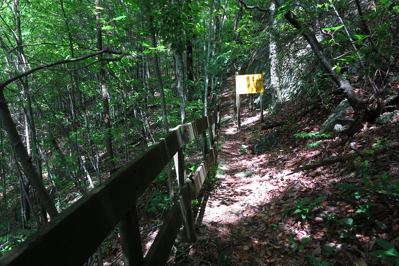 The Forest service has put up this fence to mark the end of the discontinued trail.