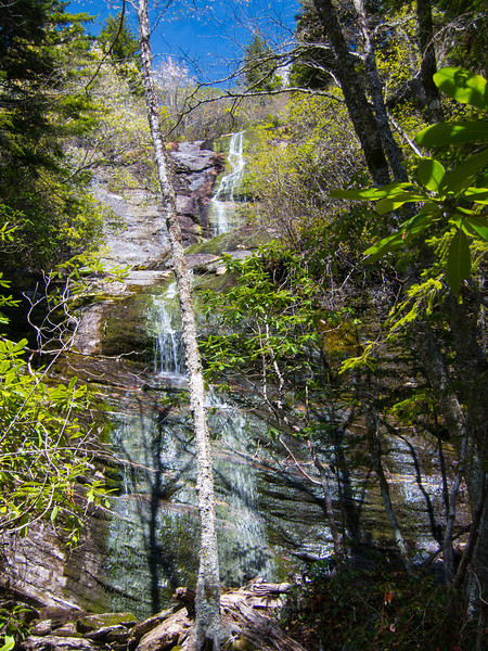 A vertical shot.  Have to take my chain saw next time.  This is a big waterfall; maybe 150 feet?