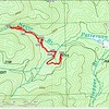 """The topo actually shows the logging road to be on the north side of the creek as far down as where I first crossed, but I saw no evidence of it on that side.   PS:  the way point marked """"Jnct"""" is where the logging road splits (I missed it ) with one fork dead ending at the creek and the other continuing up the River Right."""
