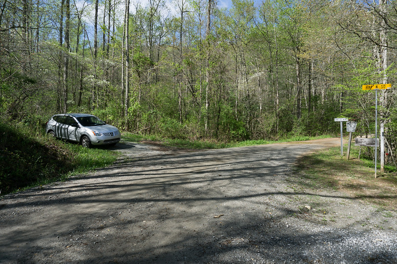 I parked at the trail head on Patterson Gap Road 1.6 miles from Betty Creek Road.  Actually, this is where FR 32 begins.  This particular picture is from my hike a year ago.  (It was sunny that day, too!)