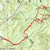 """This Topo shows both of my hikes.  Most off-trail hikers could make a """"Lolipop""""  hike by continuing downstream from Sandy Bottom Falls or upstream from Sellers Falls."""