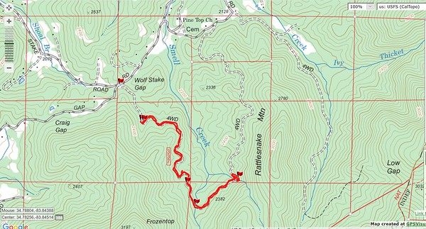 Here is the track plotted on the Forest Service topo.