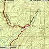 Here is a cropped version of the topo.  It appears that the Raven Cliffs Wilderness Boundary crosses at the top of the waterfall.