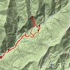 Here is the track.  About 3.75 miles, round trip.  I would put the top of this waterfall at 2800 feet elevation.