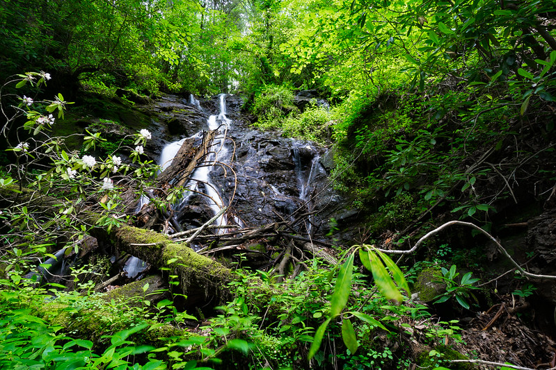 This cascade needs a lot of water to make the effort worth while.  And, unless you are a hard-core Waterfaller, this hike is not for you.  About 40-45 feet.