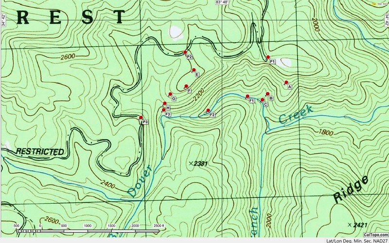 """So, exactly where is Dover Creek?  And what options have I been considering?  The topo above shows my plan(s).  Way points P1, P2 and P3 are parking places along FS 244 that I had identified as possible points of departure.  Way points """"A"""" through """"H"""" are way points on possible routes.  Note that, in addition to the waterfall on the tributary (F3),  I have identified locations of two waterfalls on Dover Creek; F1 and F2.  Last winter I did a recon from P3; last week I did a recon from P1.  Today, I decided on P3."""