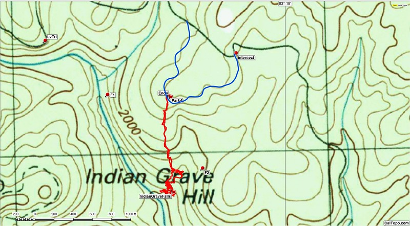 Here is the GPS track.  Note that FR 153 actually comes out to the Park/End way point before swinging around and heading down to the creek.