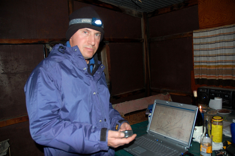 Joe. When Tom mentioned a crash site that sounded really close, Joe jumped up and got his laptop to enter the coordinates.  He had been waiting for us after his own day of exploration and was bored after dinner.