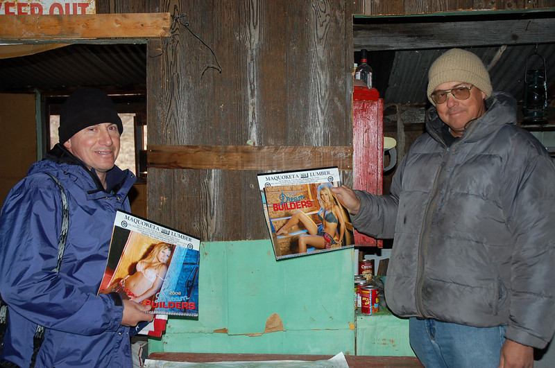 Found a cabin on our way to the hike.  <br />   Found some girlie calendars- look at those guys faces!  <br /> hahhahahaaa!