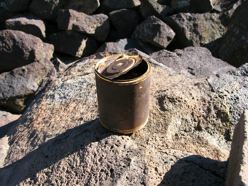 The can at the cairn, had fragile papers inside, probably someones claim. Unable to read.