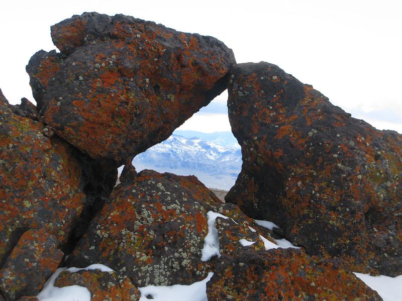 Upside down heart window near the summit