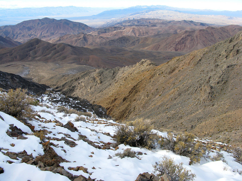 We decided to take the canyon back. We'd go to the saddle, then descend. It was fun and snow filled.  Robin made it easy for me by breaking trail- not the easiest thing to do in a rocky snow covered wash. Lots of fossils in there, too.