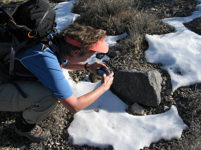 Robin taking a pic of the fossils