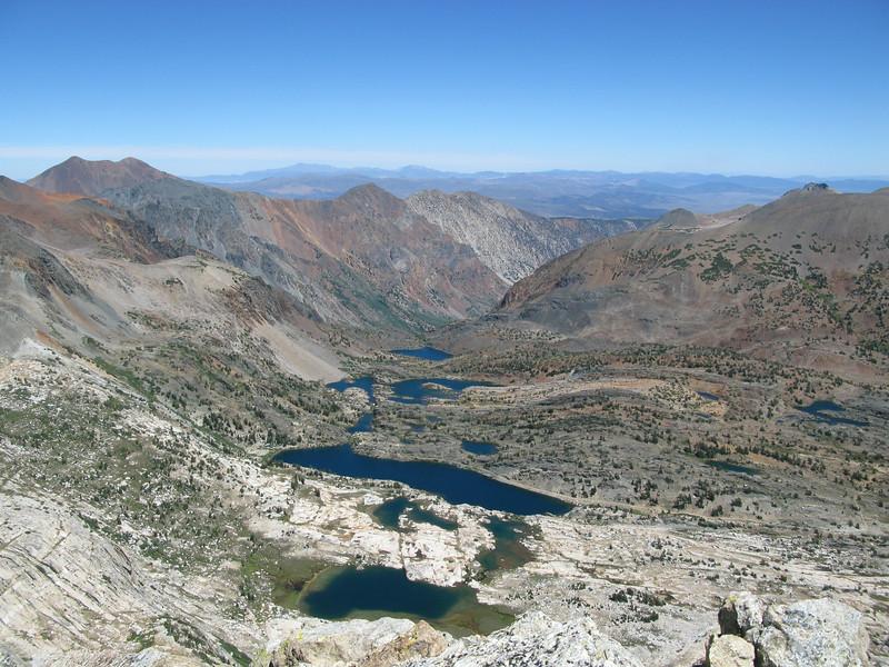 Cascade, Steelhead, Shamrock, Helen Lakes (near to far) Z Lake on far right. From North's summit