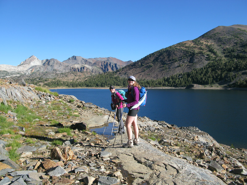 Bex and Pavla at Saddlebag Lake heading out for North Peak