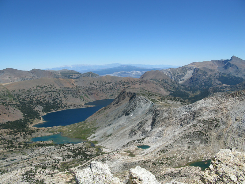 Saddlebag and Greenstones Lakes . (Mt Dana far right)