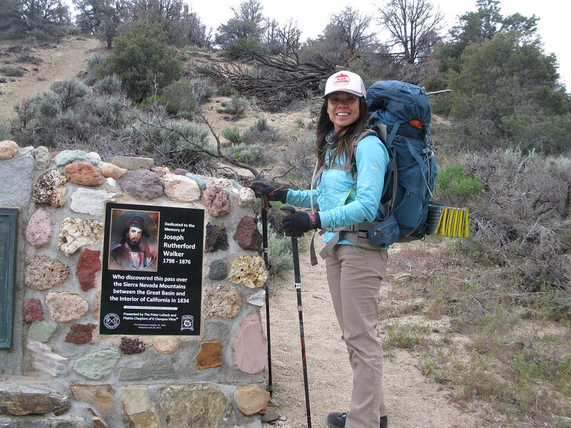 Nadia at Walker Pass memorial