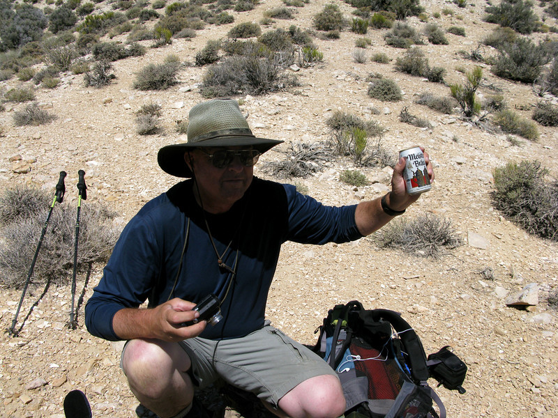 There was even a nice steaming hot beer in the ammo can at the saddle. Guess it wouldn't matter if you were thirsty. Pretty hot and dry out here!