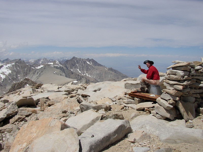 Jacob taking a dump on the highest altitude toilet in the US.