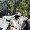 Hiking down to the saddle before Dawson Peak