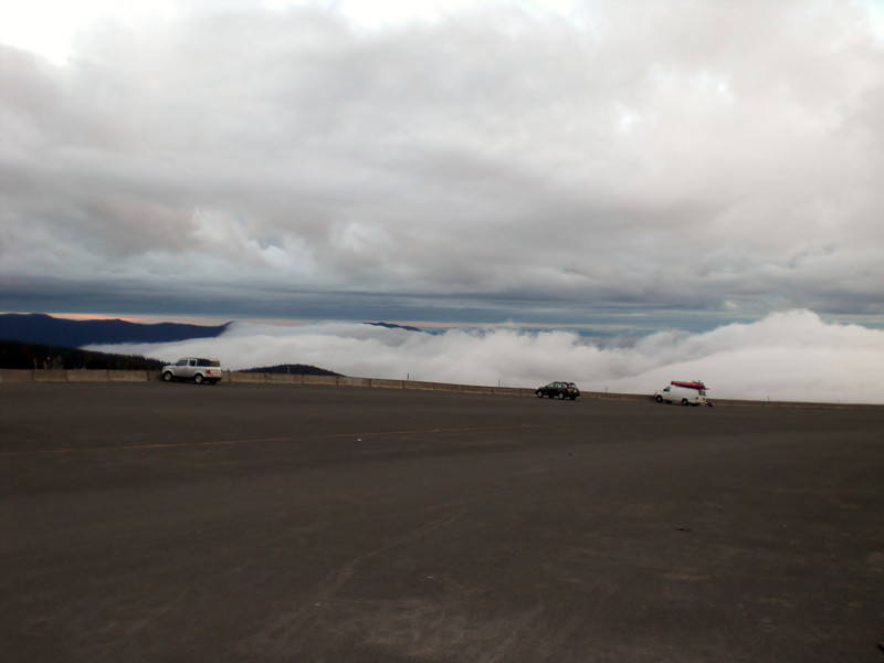 Threatening clouds down below at the parking lot at Timberline Lodge.