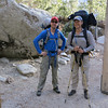 Luke and Clark at the trail head.  Packs weighed in at: Luke-42 pounds, Clark 55 pounds and mine 52 pounds.