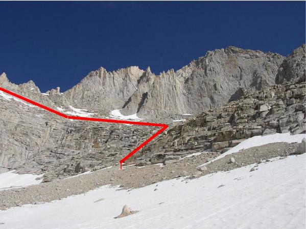 Closer view of traverse to Sakai Col