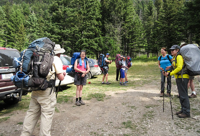 We have loaded our packs on and now Roger is doing some sort of explaining.