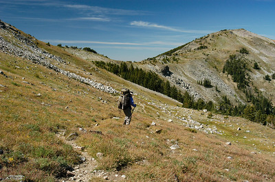 Hiking below the main ridge of the Spanish Peaks.