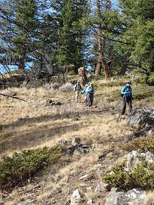 Partway down the ridge line.