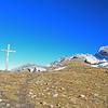 Girl hiker on a mountain pass