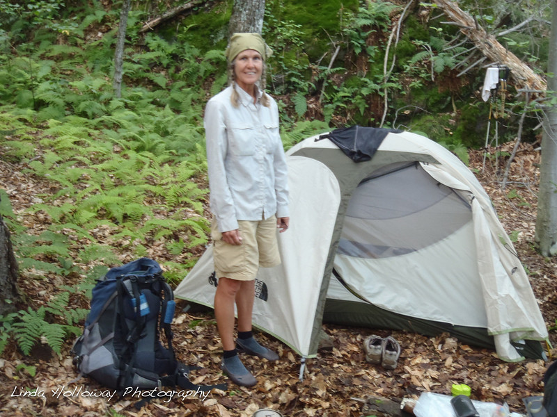 Rough Day- My muscles were screaming.  It was an uphill climb most of the day.  Up and down we hiked and took breaks from 8-5.  I could only last for about an hour and I had to stop.  All is well now, we have our tent up and I am ready to rest.  My pack is about 27 lbs.  We went 7 miles on this day.