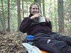 Finally we found one and pitched our tent and ate supper.  Supper is usually a noodle combination of dehydrated green beans and dehydrated chicken or sometimes we add a little Knorr noodle mix to our Ramen noodles.  My shoulders are real sore from the pack.  I have developed bruises.  I hope to solve the problem in Hanover, New Hampshire.
