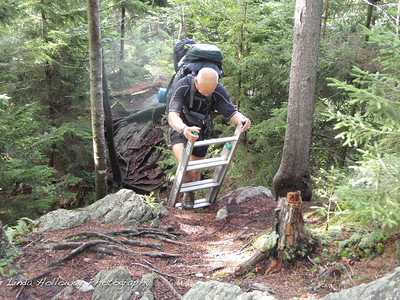 We were surprised to find a ladder to help us get down to the trail.  It was a little tricky getting on the ladder with my backpack.